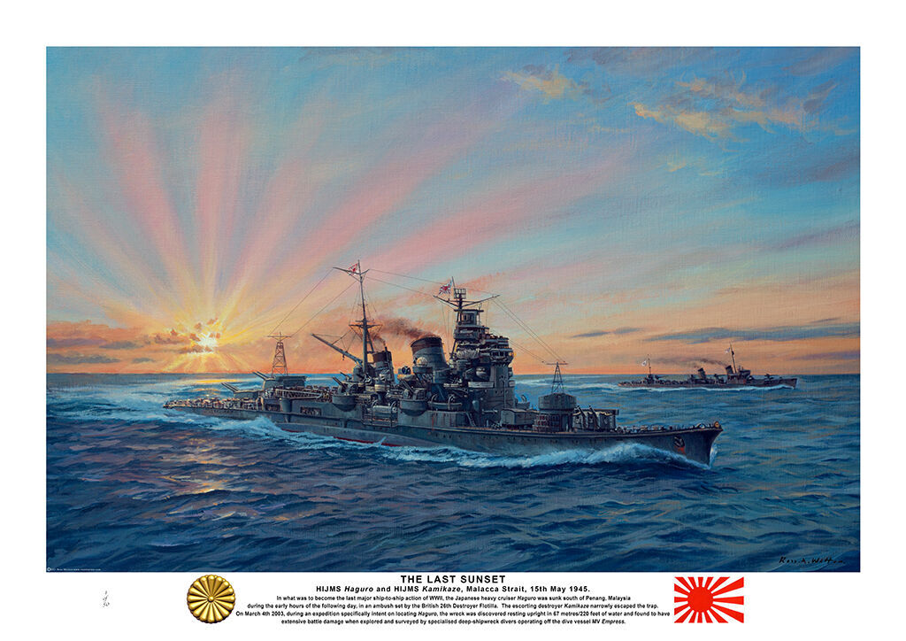 HMIJS Haguro and HMIJS Kamikaze turning to port at speed with a setting sun radiating beams of red light .