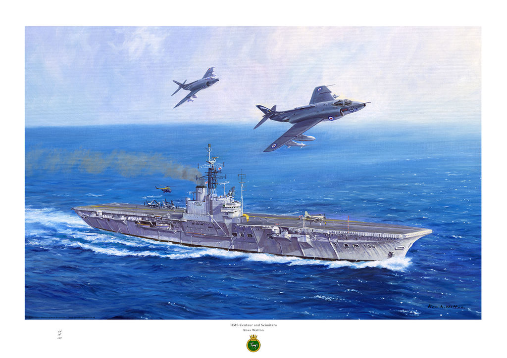 HMS Centaur sailing through a deep blue sea with two Scimitar jet aircraft flying overhead.
