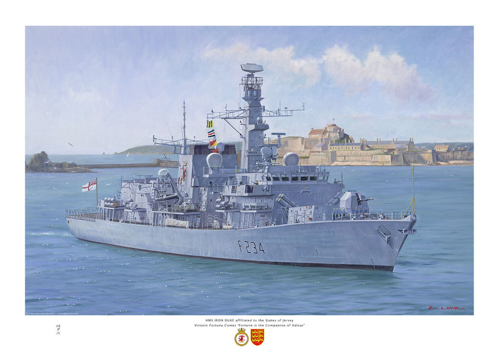 HMS Iron Duke enters St Helier, Jersey on a bright sunny day, with Fort in the background.