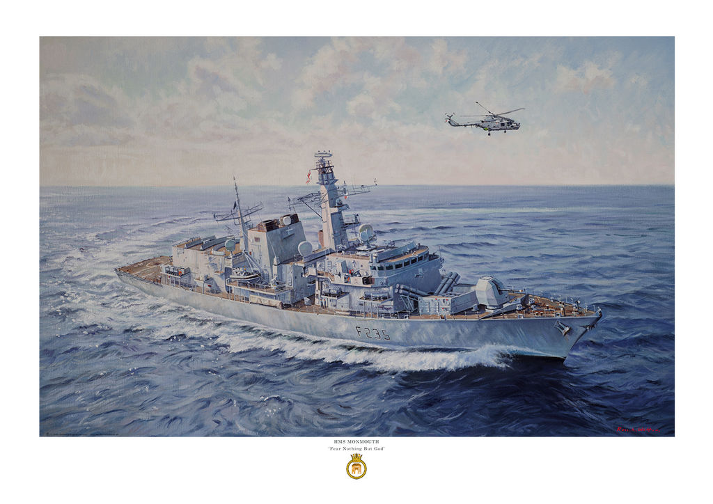 HMS Monmouth turning to port in a dark blue sea with Lynx helicopter flying over.