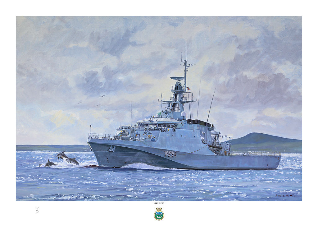 HMS Spey in Spey Bay port bow view with sparkling water and dolphins riding the bow wave.