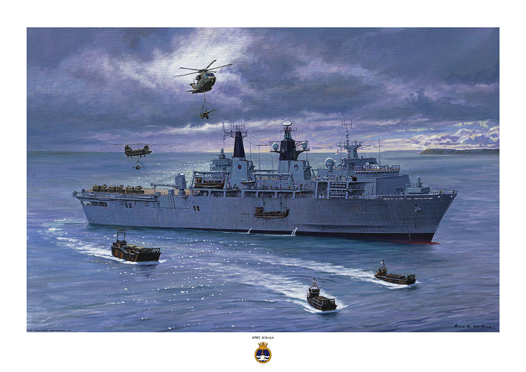 HMS ALBION docked down with landing craft and helicopters deployed against a stormy sky.