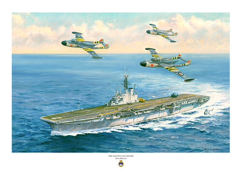 Painting of HMS ALBION turning to starboard with three Venom aircraft flying over