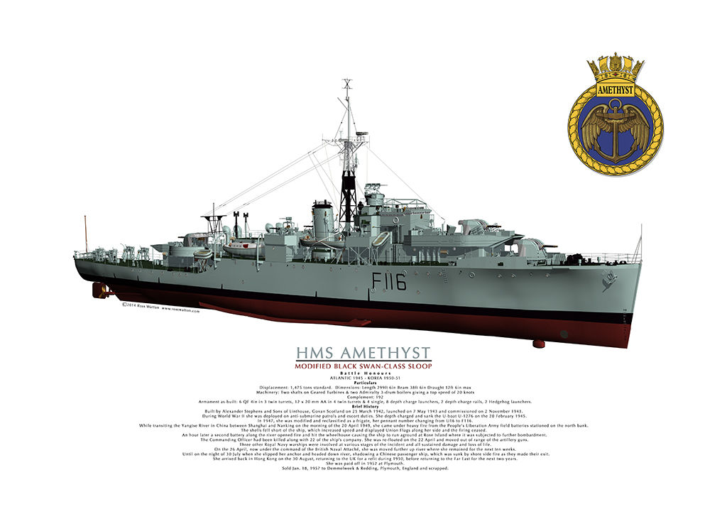 HMS Amethyst starboard bow view of complete ship with the ship's crest in the top right corner.