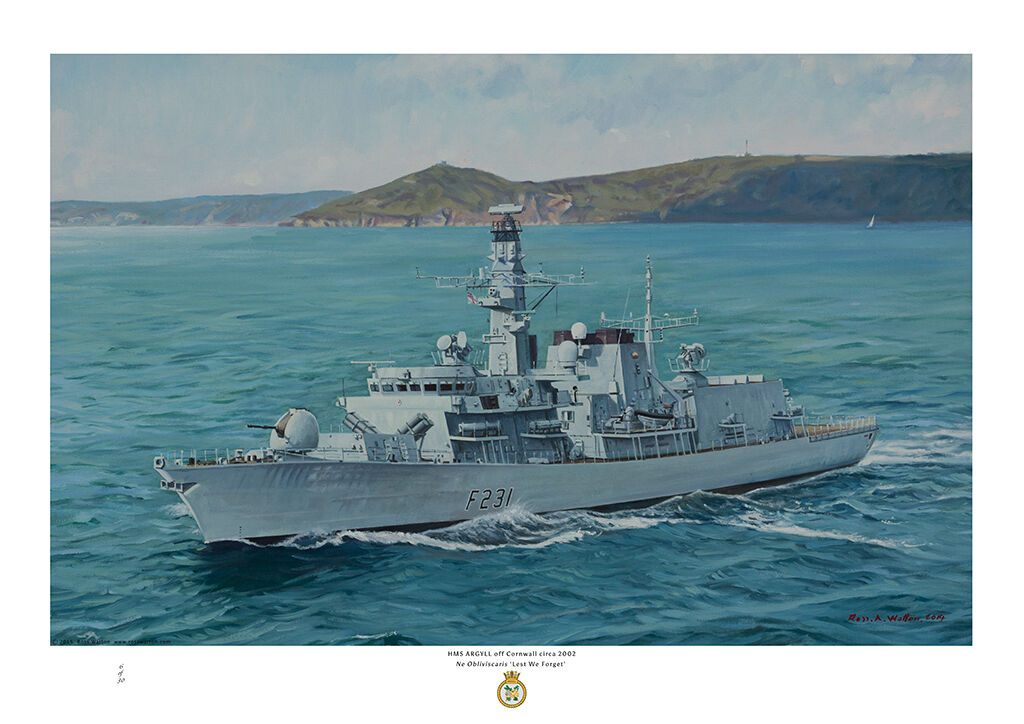 HMS Argyll as in 2002 with Cornish coast in the background on a sunny day.