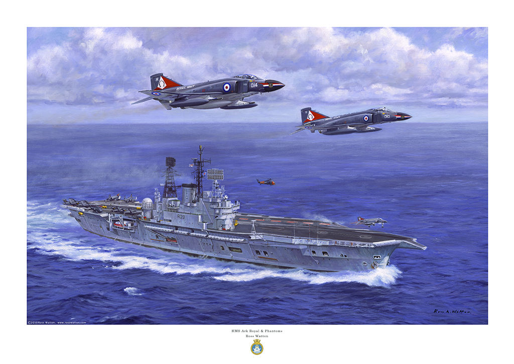 HMS Ark Royal at speed in a blue sea with two F4 Phantom jets overhead as viewed for the starboard bow.