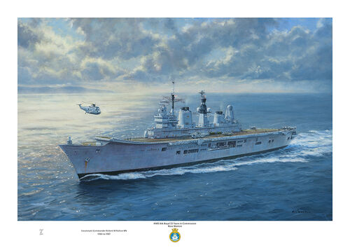 Oil painting of HMS Ark Royal at sea looking at the port bow with sunlight breaking through the clouds