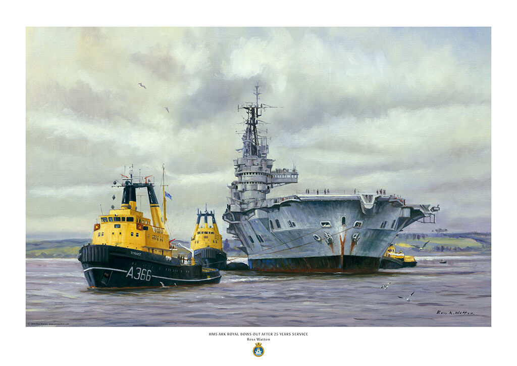 HMS Ark Royal with tugs towing her away for scrap viewed bow on.