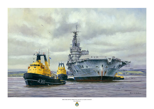 Oil painting of HMS Ark Royal with tugs towing her away for scrap viewed bow on.