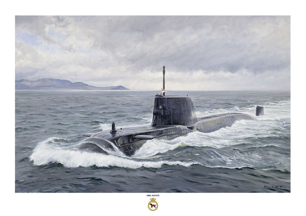 HMS Astute on the surface in waters off the Scottish West coast and a big bow wave.