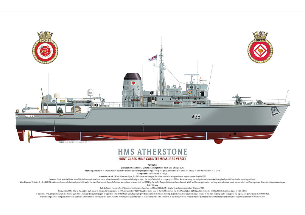 HMS Atherstone starboard side view with ship's crest and MCM2 Flotilla badge