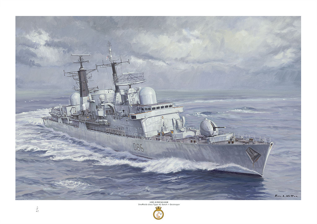 HMS Birmingham turning at speed in a grey sea and sky starboard bow view.