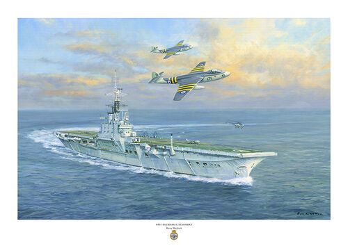 oil painting of HMS Bulwark turning to port with two Seahawk aircraft flying overhead