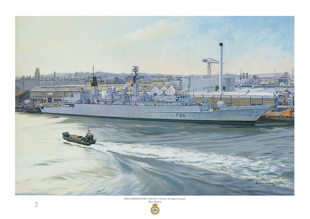HMS Campbeltown alongside at Devonport dockyard in early morning light and landing craft passing.