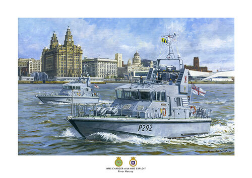 HMS Charger with HMS Raider on the Mersey with the Liver building behind.