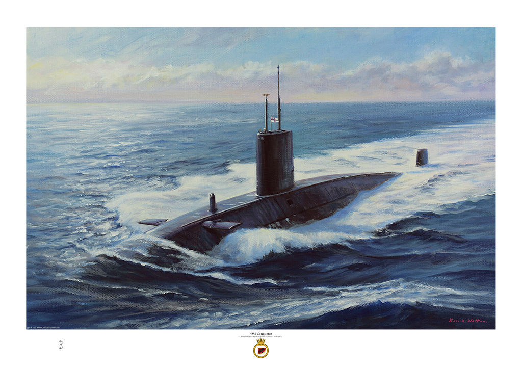 HMS Conqueror at sea on the surface with sun illuminating the water and there large wake.