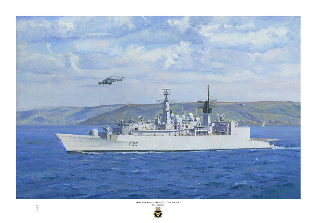 HMS Cornwall ay sea off Cornwall with bright cloudy sky and rich blue sea and Lynx helicopter over.