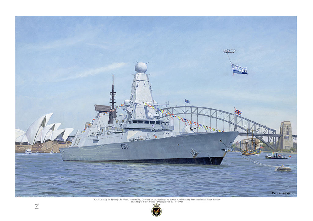 HMS Daring in Sydney Harbour Australia with the bridge and opera house visible behind.