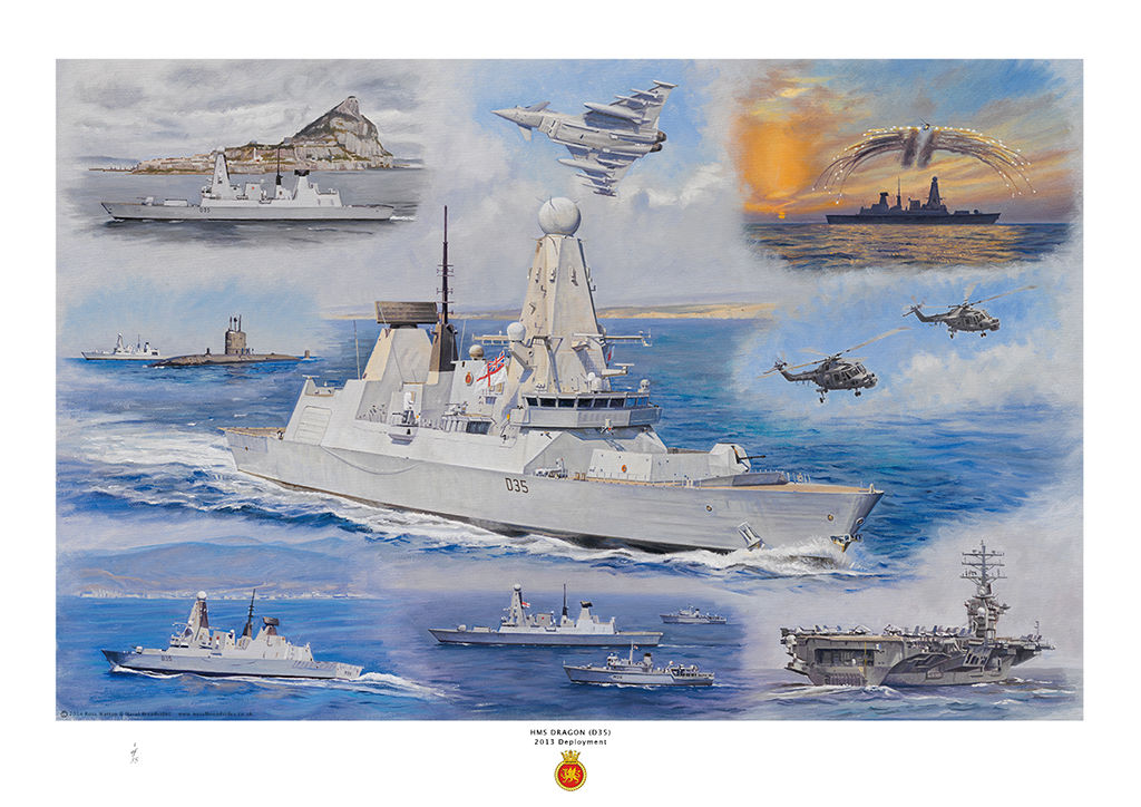 HMS Dragon in the centre with various images of her activities around including the USS Nimitz