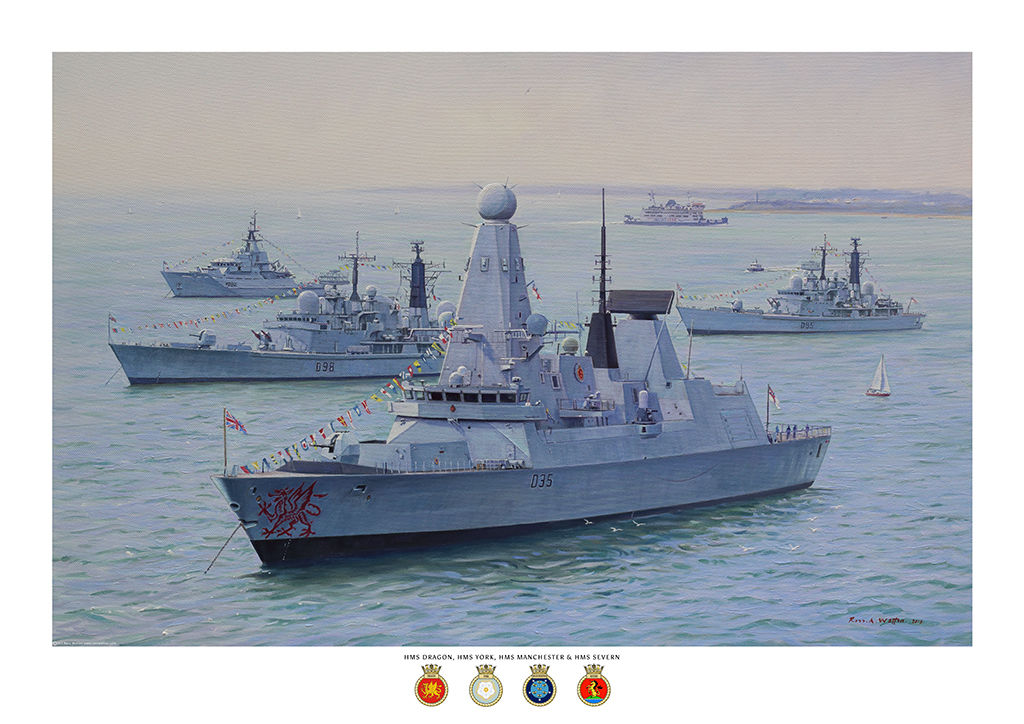 HMS Dragon at Spithead in the Solent with HMS York, Manchester and Severn anchored behind