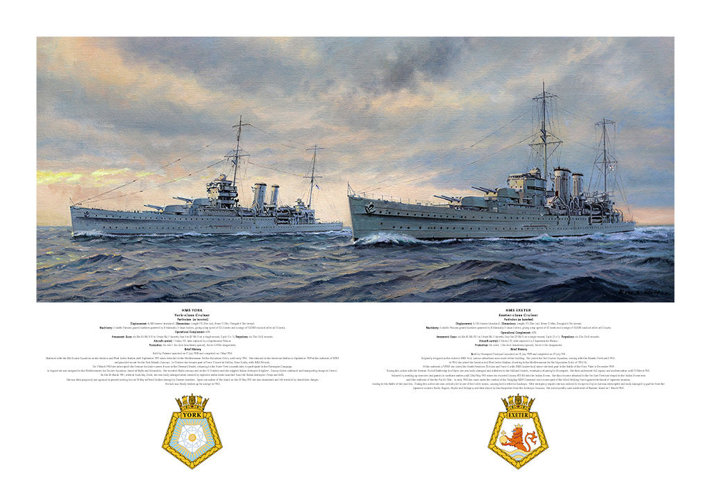 HMS York and HMS Exeter at sea showing port side, evening sky snd ship's crests.