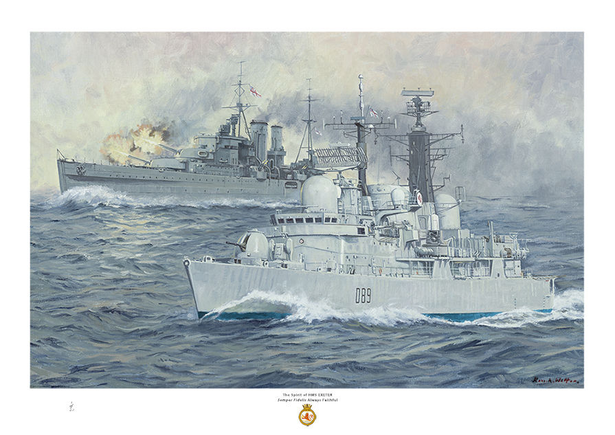 HMS Exeter D86 with the World War two cruiser behind firing her guns.