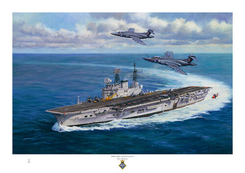 Oil painting of HMS Eagle turning to starboard with two Buccaneer jet aircraft flying over.