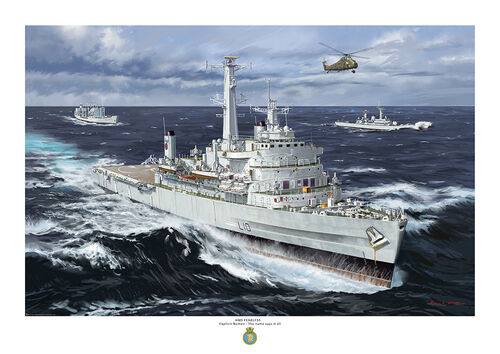 HMS Fearless in a heavy sea accompanied by other Royal Naval ships.