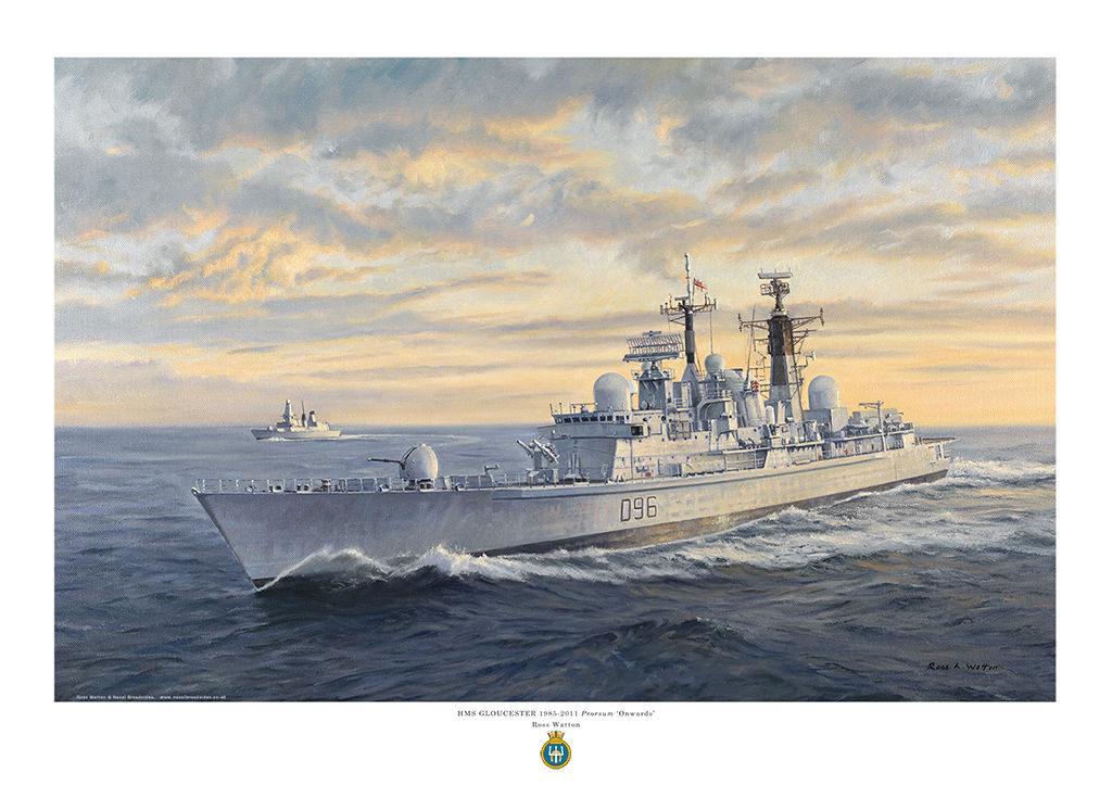 HMS Gloucester against an evening sky lit by rays from the sun and a Type 45 destroyer behind.