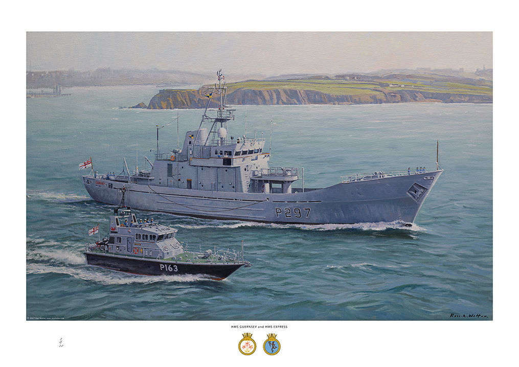 HMS Guernsey with HMS Express sailing off Milford Haven with headland in the background.