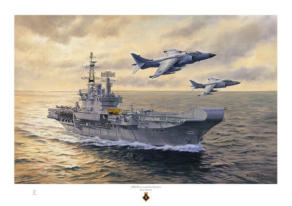 HMS HERMES with a sunset and two Sea Harrier jets flying over
