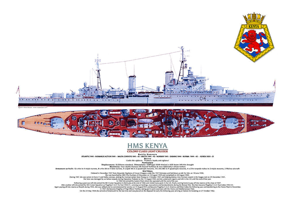Starboard side view and aerial plan of HMS Kenya, with ship's crest, ship's particulars and history
