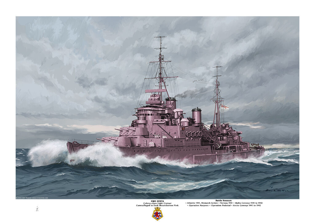 HMS Kenya thundering through a rough green sea showing her dark Mountbatten pink camouflage in a port bow aspect.