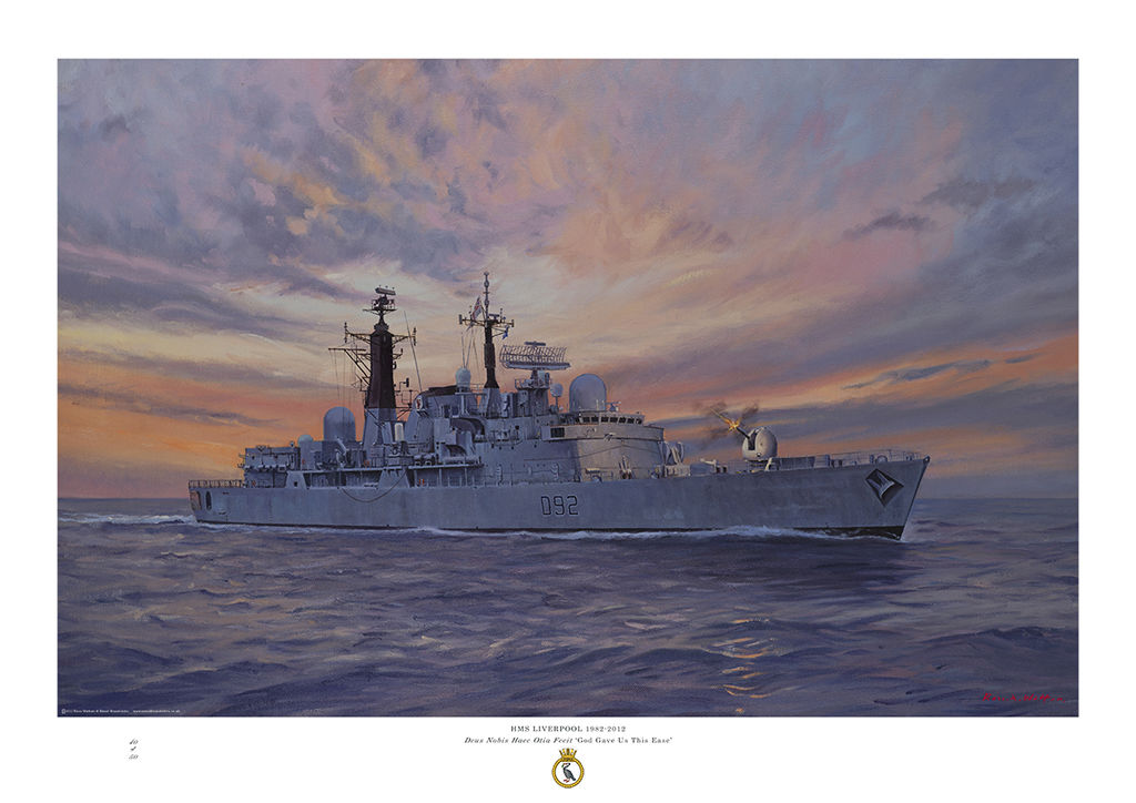 HMS Liverpool with a sunset behind and firing her Mk8 gun.