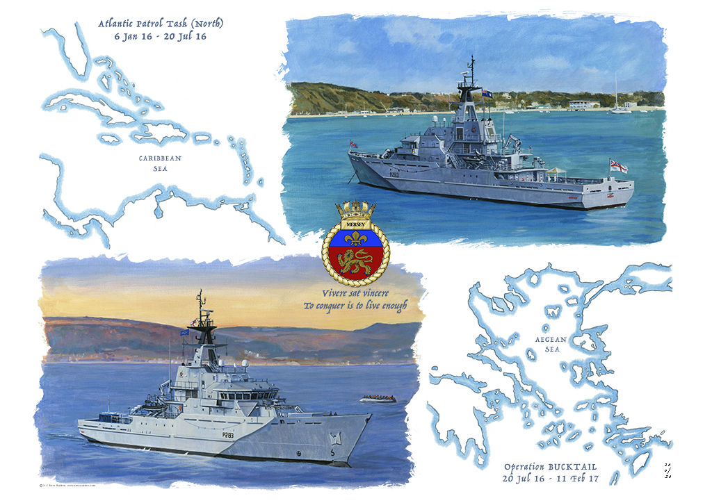 HMS Mersey illustration showing a map of the Aegean and another of the Caribbean with two views of the ship operating in these waters with the ship's crest in the centre.