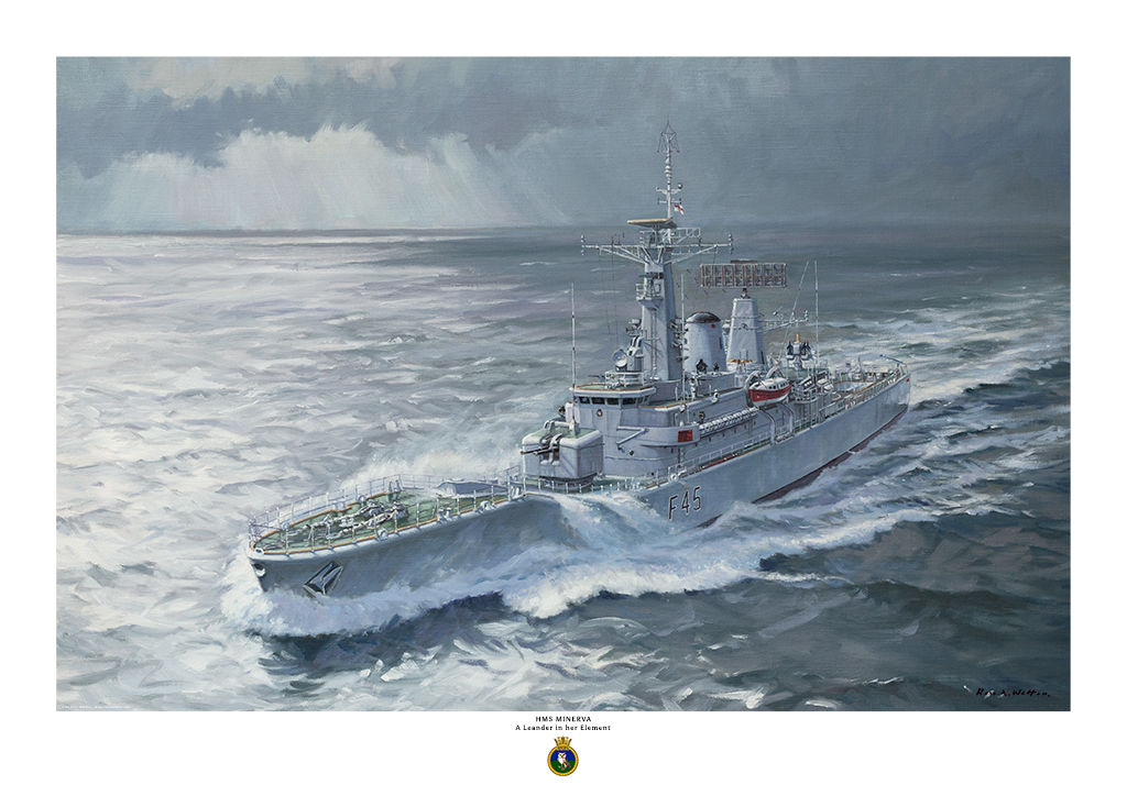 HMS Minerva in a rough green sea with water going over the bow and sunlight shining on the water.