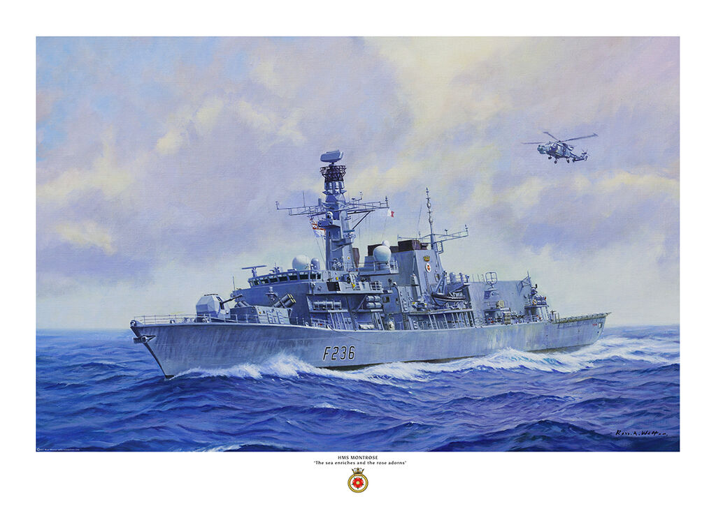 HMS Montrose port bow view with Lynx helicopter airborne overhead. the ship is fitted with Sea Ceptor missile system.