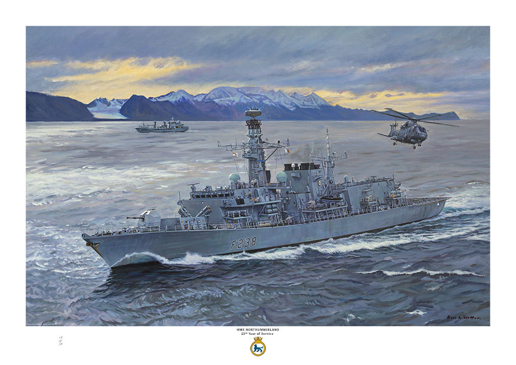 HMS Northumberland in Norwegian waters with snow peaked mountains.