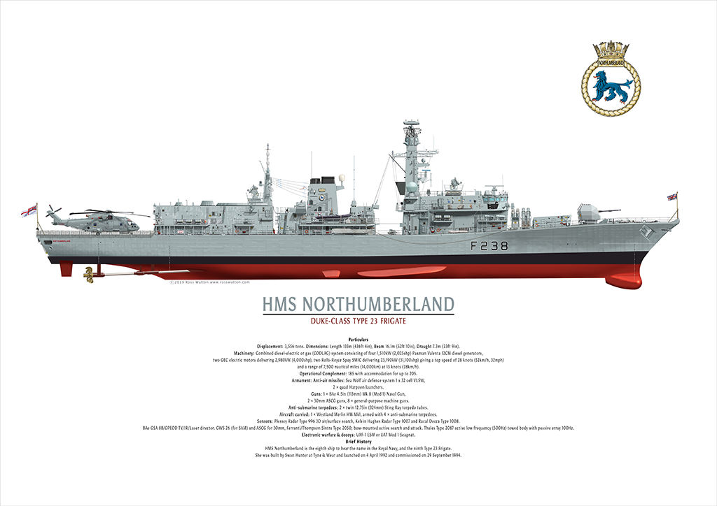HMS NORTHUMBERLAND starboard side elevation circa 2005 to 2006