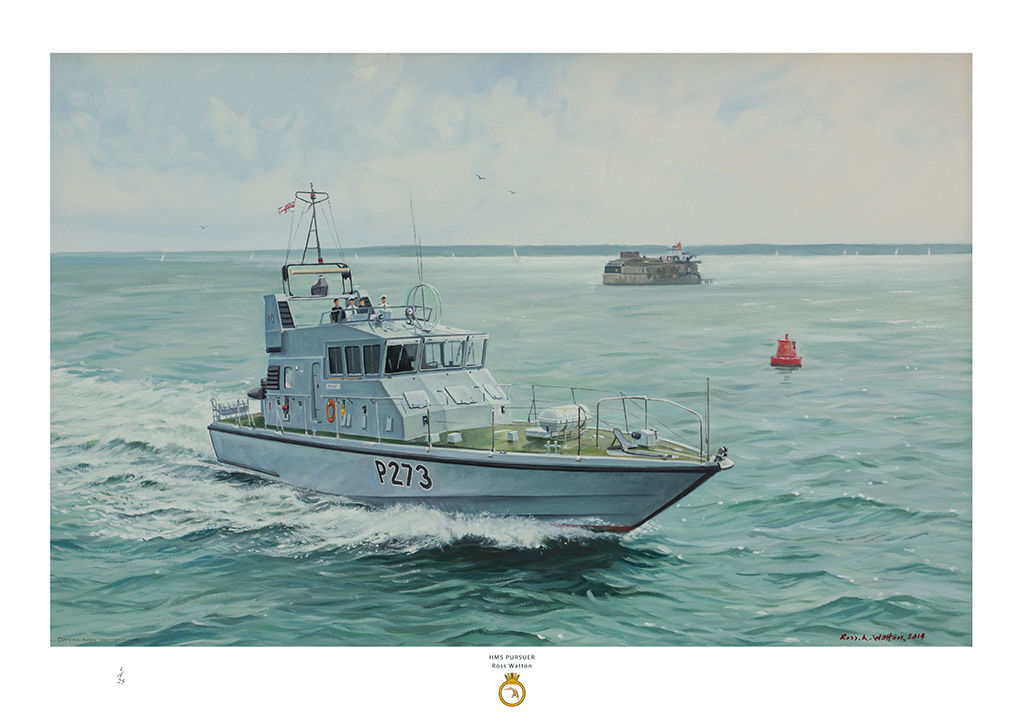 HMS Pursuer at speed passing Spitsand Fort in the Solent and a red bouy behind.