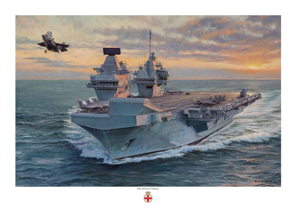 HMS Prince of Wales launching one of her F35-b Lightning aircraft, with the sun setting on the horizon.