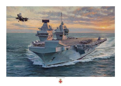 Oil painting of HMS Prince of Wales launching one of her F35-b Lightning aircraft, with the sun setting on the horizon.