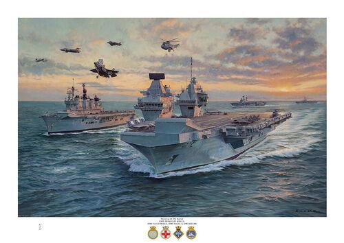 Art Print of HMS Prince of Wales, HMS Illustrious, HMS Eagle, HMS Ocean, Buccaneer, Harrier