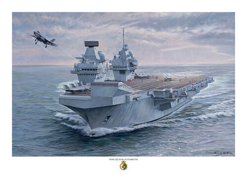Oil painting of HMS Queen Elizabeth launching an F35 Lightning from her ski ramp.