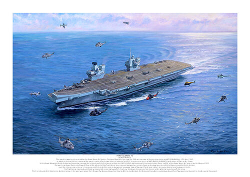 HMS QUEEN ELIZABETH in a blue sea with historic navy aircraft and helicopters flying around.
