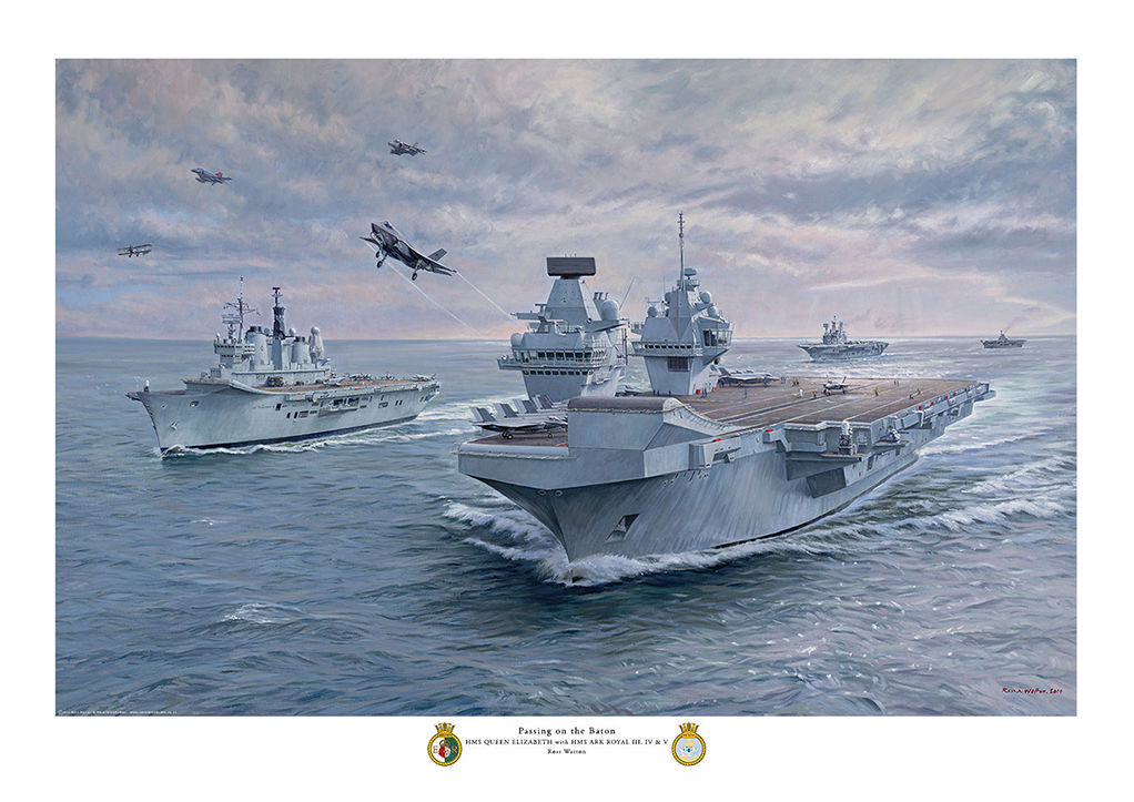 HMS Queen Elizabeth with former HMS Ark Royal carriers in convoy with various aircraft flying over.