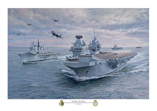 oil painting of HMS Queen Elizabeth with former HMS Ark Royal carriers in convoy with various aircraft flying over.
