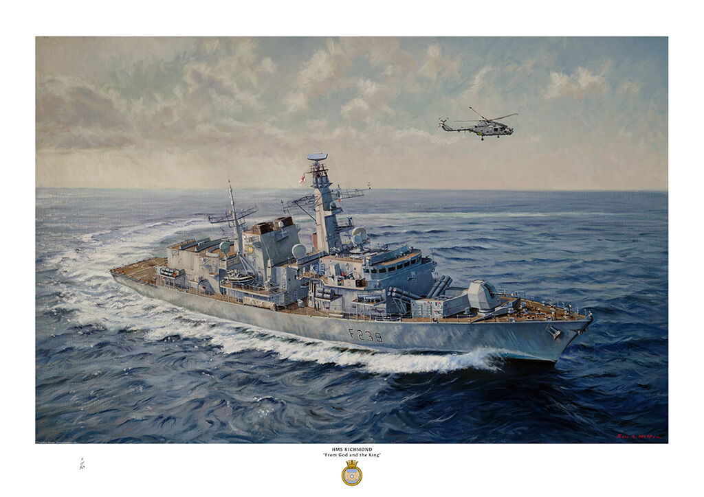 HMS Richmond at sea turning to port at speed showing her starboard side from above and her helicopter airborne overhead.
