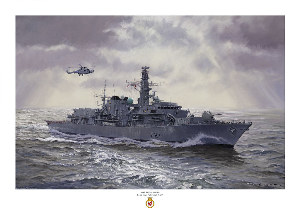 HMS Sutherland in a burst of sun rays glittering on a greenish sea, with her Lynx helicopter overhead