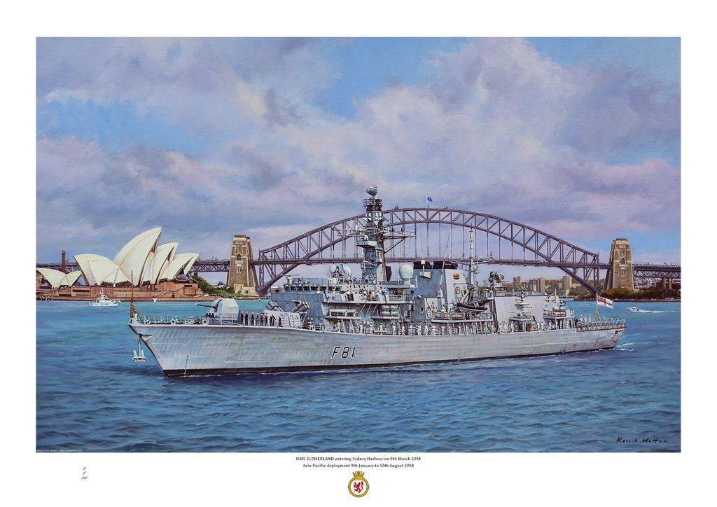 HMS Sutherland in Sydney Harbour Australia with the Opera House and Bridge behind.